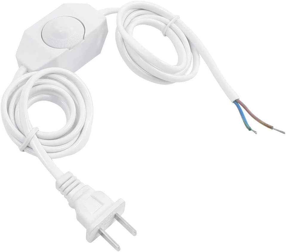 Luntus White Lamp Power Cord w Dimmer Switch AC 250V/110V US Plu