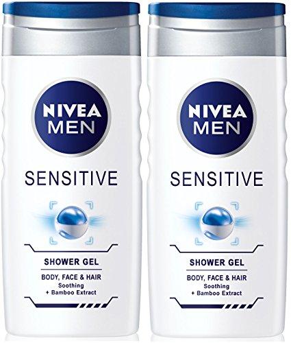 Nivea Herren- Sensitiv Dusch- Gel für Körper Gesicht & Haar (Packung von 2) 250ml jedes