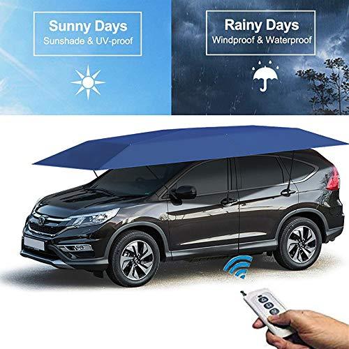 BrightFootBook Autozelt Mit Fernbedienung Sommer Wasserdicht Auto(420X220Cm),Car Tent Automatischer Regenschirmschutz Automatische,Autoabdeckung Tragbare,Blue