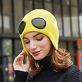 FREETT Weiches Strick Warmer Hut Mädchen Baumwolle Wintermütze für Draussen Ski Bewegung Geschenke Multifunktion Fliegerhut mit Brille und Ohrenschützer, Size 56-60 cm,Gelb