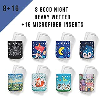 KaWaii Baby Good Night Heavy Wetter Pack of 8 Baby Cloth Diapers with 16 Stay-Dry Super Absorbent Microfiber Inserts Unisex Overnight Pocket Diaper One Size Adjustable Waterproof Newborn to Toddler