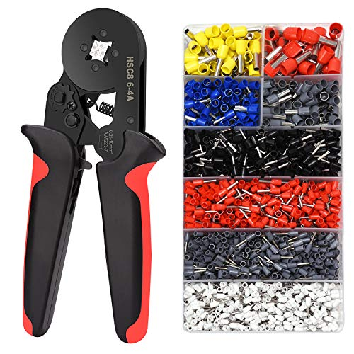 Ferrule Crimping Tools Wire Pliers - 1800 PCS Wire Ferrules with Crimpers Pliers Kit for Electricians, Adjustable Ratchet Tools with Terminals Connectors AWG 28-7, 0.08-10mm