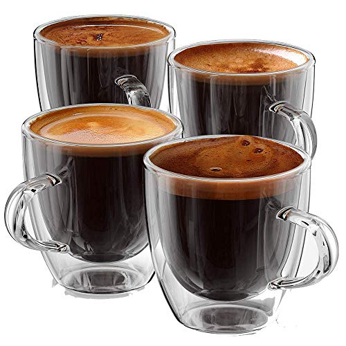 Espresso cups 5 oz - Glass Espresso cups - Set of 4 - Double Wall Espresso Cups, Espresso cup with Handle, Gift Box Set, Premium Expresso coffee cups sets - Stone & Mill AM-04 espresso shot glasses