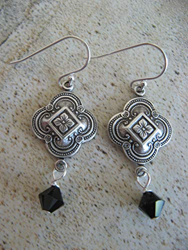Vintage Style Jet Black Swarovski Crystal Mixed Metals Sterling Silver Earrings Artisan Jewelry