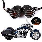 HANEU 2 bombillas de luz indicadora de señal de giro trasera para motocicleta, 12 V CC, luz ámbar universal retro