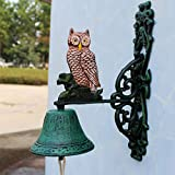 Escultura de escritorio escultura de pared animal, forjado araña de hierro timbre mano de acero campana estilo timbre de garaje de acero decorativo máquina vientre artesanías 18x23cm escultura de pare