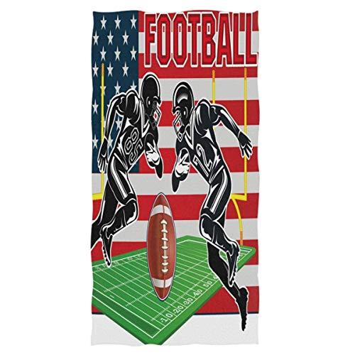 LVOE TTL 3D lustige Ball Muster große Handtücher amerikanische Flagge Football-Spieler Vintage Sport Badetuch Ultra weiche hochsaugfähige Mehrzweck-Badetuch
