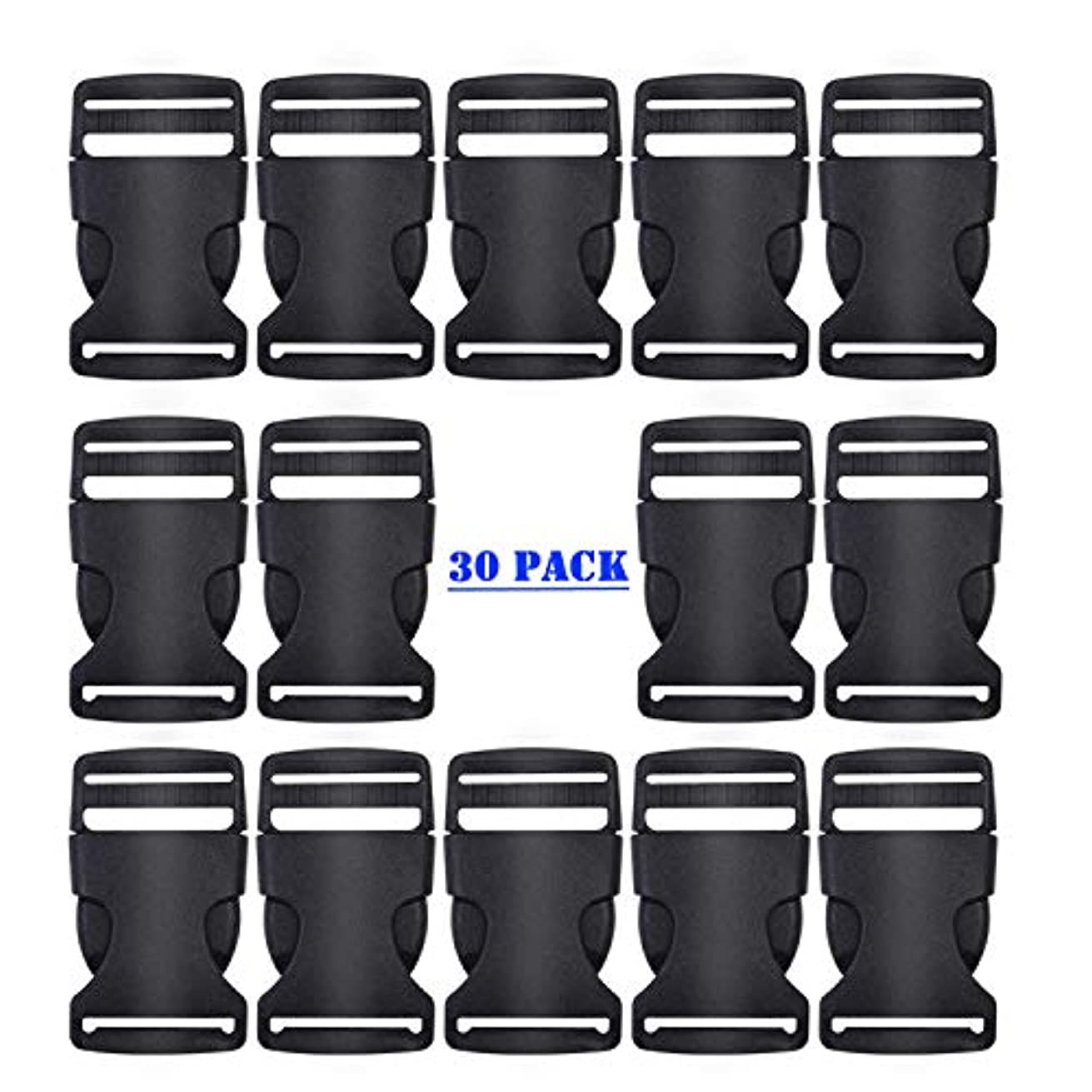 WeiMeet 30 Pieces Flat Buckles Side Release Plastic Buckles Adjustable Buckles for Luggage Backpack Straps Pet Collar