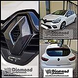 DIAMOND PERFORMANCE Renault Clio 4 (2012-2019) RS, 4 Facelift, Noir Brillant Avant et Arrière Badge Housses (pour Voiture Modèles sans Caméra Fixation), Logo Housse, Effet Carbone Nombreux Couleurs