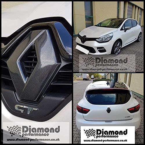 Renault Clio 4 (2012-2019) Rs, 4 Restyling, Nero Lucido Anteriore e Stemma Cover ( per Auto Modelli Senza Fotocamera a Cavallo), Logo Cover, Effetto Carbonio Molti Colori - Effetto Fibra di Carbonio