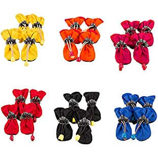 Customer reviews Demiawaking Protective Dog Boots, Pack of 4 Non Slip Waterproof Dog Shoes Paw Protectors Boots for Small and Medium Dogs (Colour Random) (XS 4.5 X 3.5 CM):Eventmanager