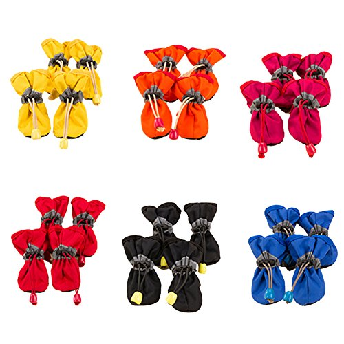 Jocestyle Waterproof Dog Shoes Rain Snow Booties Waterproof Rubber Anti-Slip Shoes for Small Dog Puppy 1 Set(Color Random) (1.57X1.97 inch)