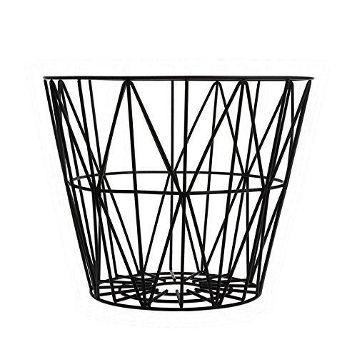 Ferm Living Korb Drahtkorb medium schwarz Wire Basket - Black - Medium auch als Beistelltisch erweiterbar