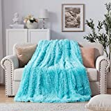 NexHome Soft Shaggy Faux Fur Blanket Throw Blanket 50' x 60', Fluffy Cozy Lightweight Luxury Microfiber Long Faux Fur Decorative Blankets for Sofa Couch Bed Chair Photo Props, Light Blue