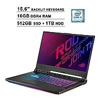 ASUS ROG STRIX 15.6 Inch FHD 1080P Gaming Laptop - Intel Core i5-9300H up to 4.1 GHz, NVIDIA GeForce GTX 1660 Ti 6GB, 16GB RAM, 512GB SSD (Boot) + 2TB HDD, RGB Backlit KB, Bluetooth, WiFi, HDMI, Win10