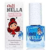 Miss Nella BLUE THE CANDLES- blu Smalto speciale con brillantini per bambini, con formula peel-off, a base d'acqua e senza odori