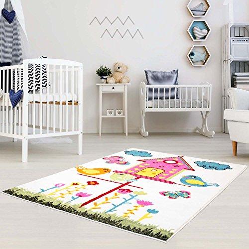 MyShop24h Modern kindertapijt, vlakke polen, vogelhuisje, vogelbloemen, design, Multi Oeko Tex Kindervloerkleed 80 x 150 cm turquoise
