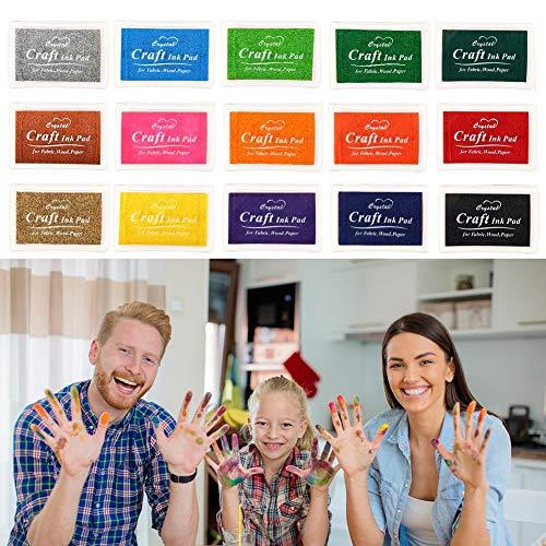 Woo-Well 15 Colores Lavable Almohadillas de Tinta Para Niños, Arco Iris Color de Huellas Dactilares Almohadilla de Tinta Para Sellos de Goma Socio Tarjetas y Niños DIY Scrapbooking