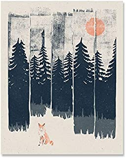 Wilderness Fox Art Print - Wildlife Nature Lover Forest Trees Mountains Landscape Wall Art Great Outdoors Inspiration Peaceful Serene Calming Home Decor 8 x 10 Inch Art Print