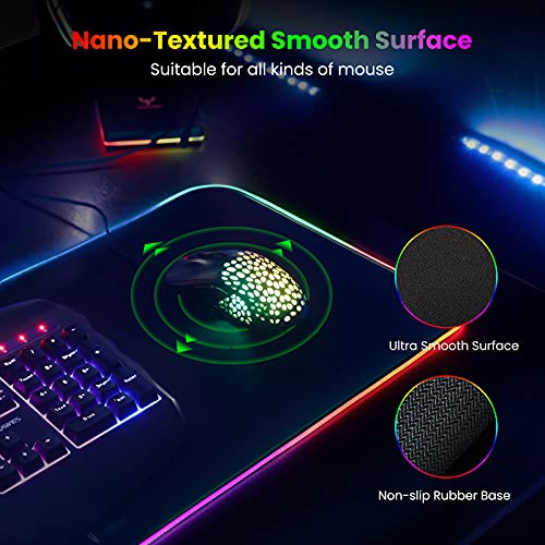 Blade Hawks RGB Gaming Mouse Pad, LED Soft Extra Extended Large Mouse Pad, Anti-Slip Rubber Base, Computer Keyboard Mouse Mat - 31.5 X 12 Inch Photo #5