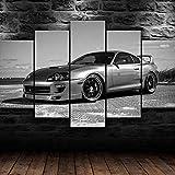 HFDSA Lienzo 5 Piezas Moderno Cuadro En Lienzo Toyota Supra JD Sports Car 5 Piezas Salón De...