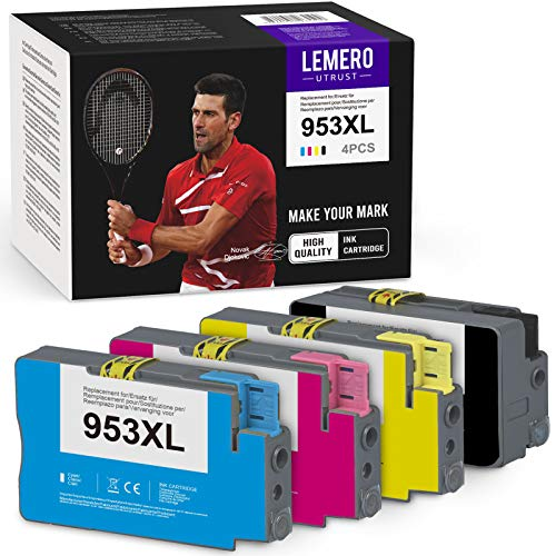 LEMEROUtrust 953XL Cartuchos de Tinta(Decemb-Chips) Compatible para HP 953 XL para HP Officejet Pro 7740 7730 7720 8210 8218 8710 8715 8718 8719 8720 8725 8730 8740 Impresora (BK/C/M/Y)