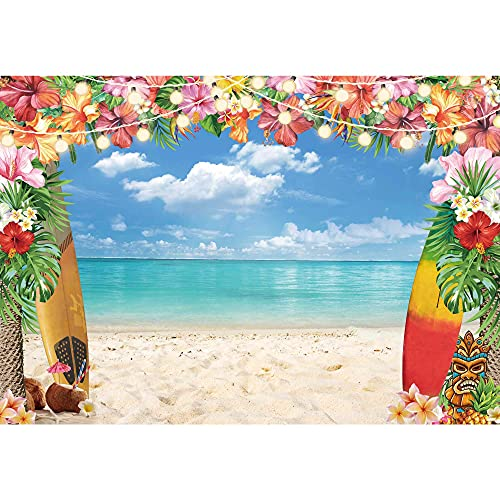 LIVUCEE 7x5ft Polyester Fabric Summer Hawaiian Beach Backdrop for Photography Tropical Flower Aloha Backdrop Blue Sky Ocean Palm Leaves Background Birthday Party Decor Baby Shower Photoshoot Prop