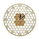 xinxin Relojes de Pared Hexágono de Madera Panal de Abeja Geometría Sagrada Peine Reloj Mandala Moderno Reloj Amante de la Abeja Guardián Habitación Deco Regalo Barrido silencioso