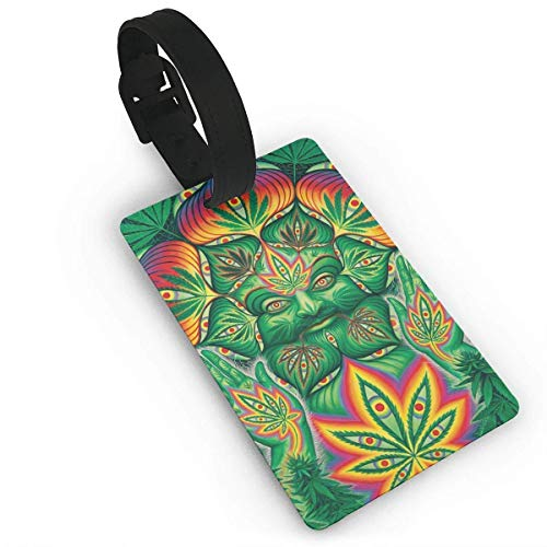 Pitbull Dog Weed Pattern Luggage Tag Duffle Bag Tags Label Size 3.7in X 2.2in