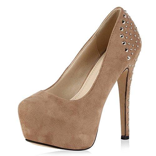 SCARPE VITA Plateau Vorne Modern Damen Pumps High Heels Schuhe Nieten 165619 Khaki 37