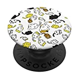 Cute Cats Pattern Teal Design on White Background PopSockets PopGrip: Swappable Grip for Phones & Tablets
