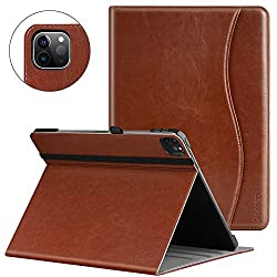 Ztotop Case for iPad Pro 12.9 2020 4th Generation, Premium PU Leather Case, Multiple Viewing Angles with Auto Sleep/Wake Cover, Support iPad Pencil Charging for iPad Pro 12.9 Inch 4th Gen 2020 - Brown