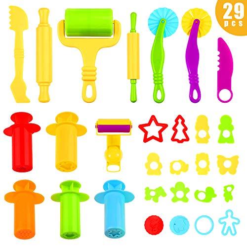 Ucradle Knetwerkzeug Knete Zubehör - Knetspritzen Plastilin Werkzeuge Plastilin Werkzeuge Set für Kinder, Ausstechformen Extruder Küchenspielzeug Modellierwerkzeug (29 Stück)
