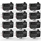 Gebildet 12pcs 125V/250V 15A Momentary Micro Switch for Microwave Oven Door Arcade Cherry Push Button, SPDT 1 NO 1 NC Limit Switch V-15-1C25, Snap Action