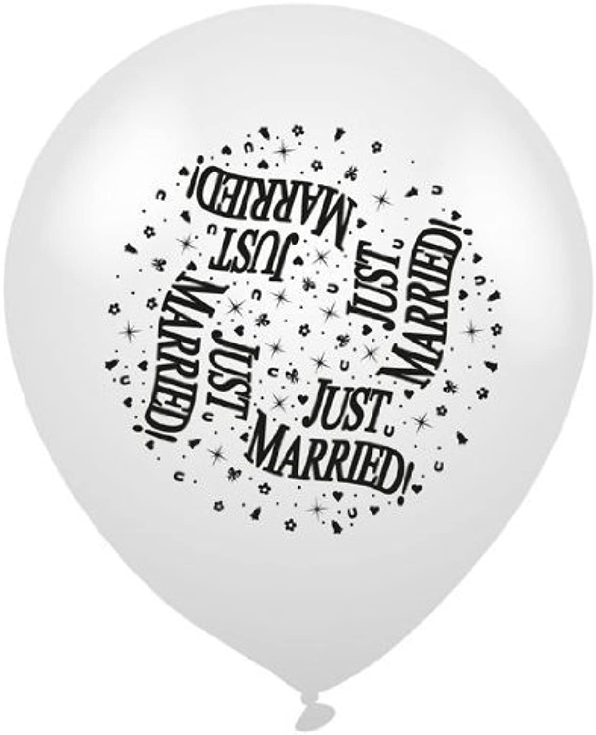 Pack of 8 gold & Silver 'Just Married' Latex Party Balloons - Air or Helium Fill by Expression Factory