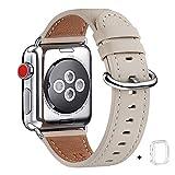 WFEAGL コンパチブル Apple Watch バンド,は本革レザーを使い、iWatch SE,Series 6/5/4/3/2/1、Sport、Edition向けのバンド交換ストラップです コンパチブル アップルウォッチ バンド(38mm 40mm, アイボリーホワイト+シルバー バックル)