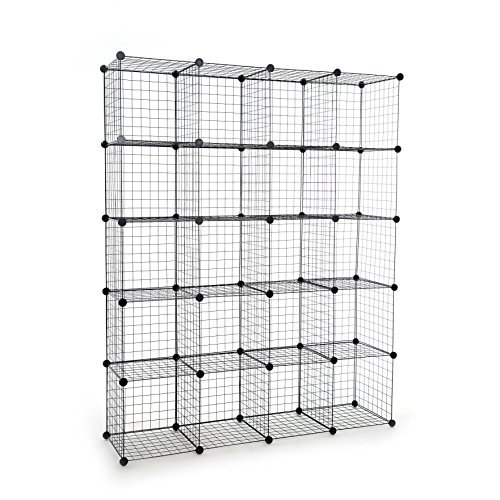 UNICOO - 1414 inch Big Cube Multi Use DIY 20 Cube Wire Grid Organizer,Wardrobe Organizer, Bookcase, Book Shelf, Storage Organizer, Wardrobe Closet - (Black Wire)