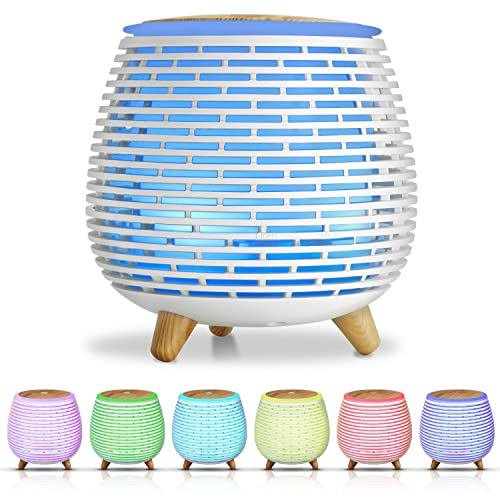 SALKING Humidificador Aceites Esenciales, Difusor de Aromaterapia, Difusor Ultrasonico de Aceites Esenciales con LED de 7 Colores, 2 Modos Programados para Hogar,Oficina,Yoga