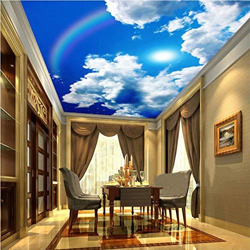 Ponana Papel Pintado Mural De Techo Grande Personalizado Cielo Azul Y Nubes Blancas Arco Iris Naturaleza Paisaje Murales De Techo Restaurante Decoración Para El Hogar 3D-450X300Cm