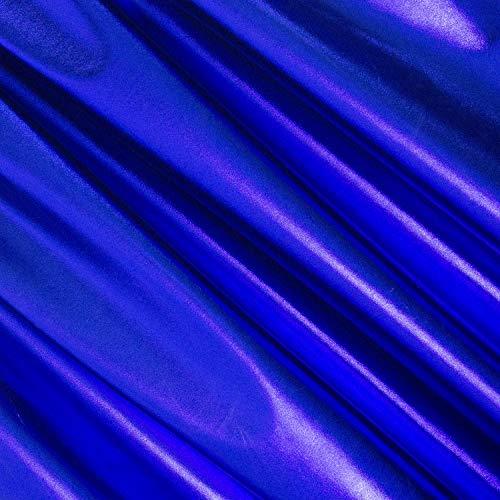 FabricLA Metallic Foil Lame Spandex Knit Fabric (Royal Blue, 2 Yards)