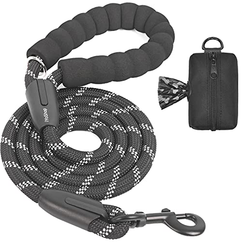 iYoShop 6 FT Strong Dog Leash with Zipper Pouch, Comfortable Padded Handle and Highly Reflective Threads Dog Leashes for Small Medium and Large Dogs (Medium/Large, 6FT, Black)