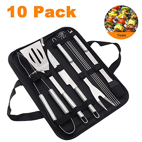 ZYBKB BBQ Grill Tool Set,9-Piece Stainless Steel Barbecue Grilling Utensil Accessories with Storage Case, Tongs, Spatula, Knife, Fork, Wire Brush, Basting Brush - Ideal BBQ Gift