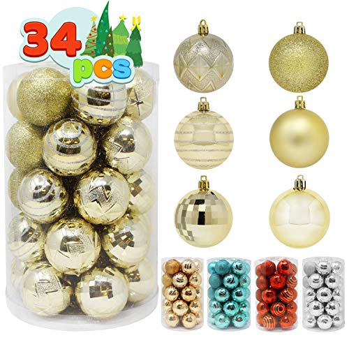 Joiedomi 34 Pcs Christmas Ball Ornaments, Shatterproof Christmas Ornaments for Holidays, Party Decoration, Tree Ornaments, and Special Events (Gold, 2.36')