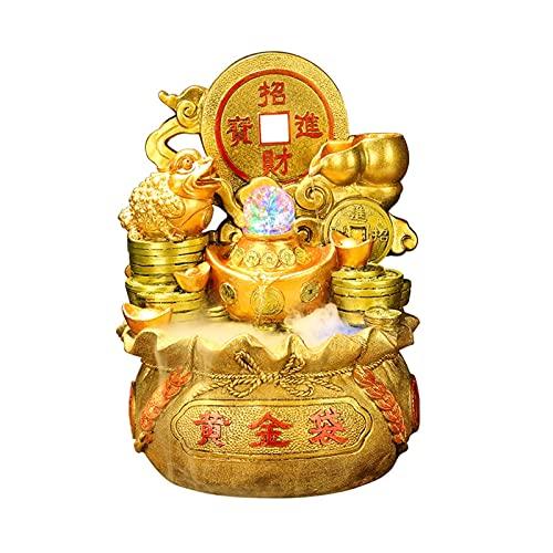 Fuente de interior Golden Toad Cornucopia Tabletop Fountain Decoración de interior Decoración pequeña Meditación Fuente de mesa - Gran regalo para el hogar o espacio de oficina Fuente interior