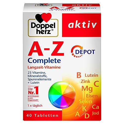Doppelherz A-Z Complete DEPOT Langzeit-Vitamine – 23 Vitamine, Mineralstoffe & Spurenelementen plus Lutein – 40 Retard-Tabletten