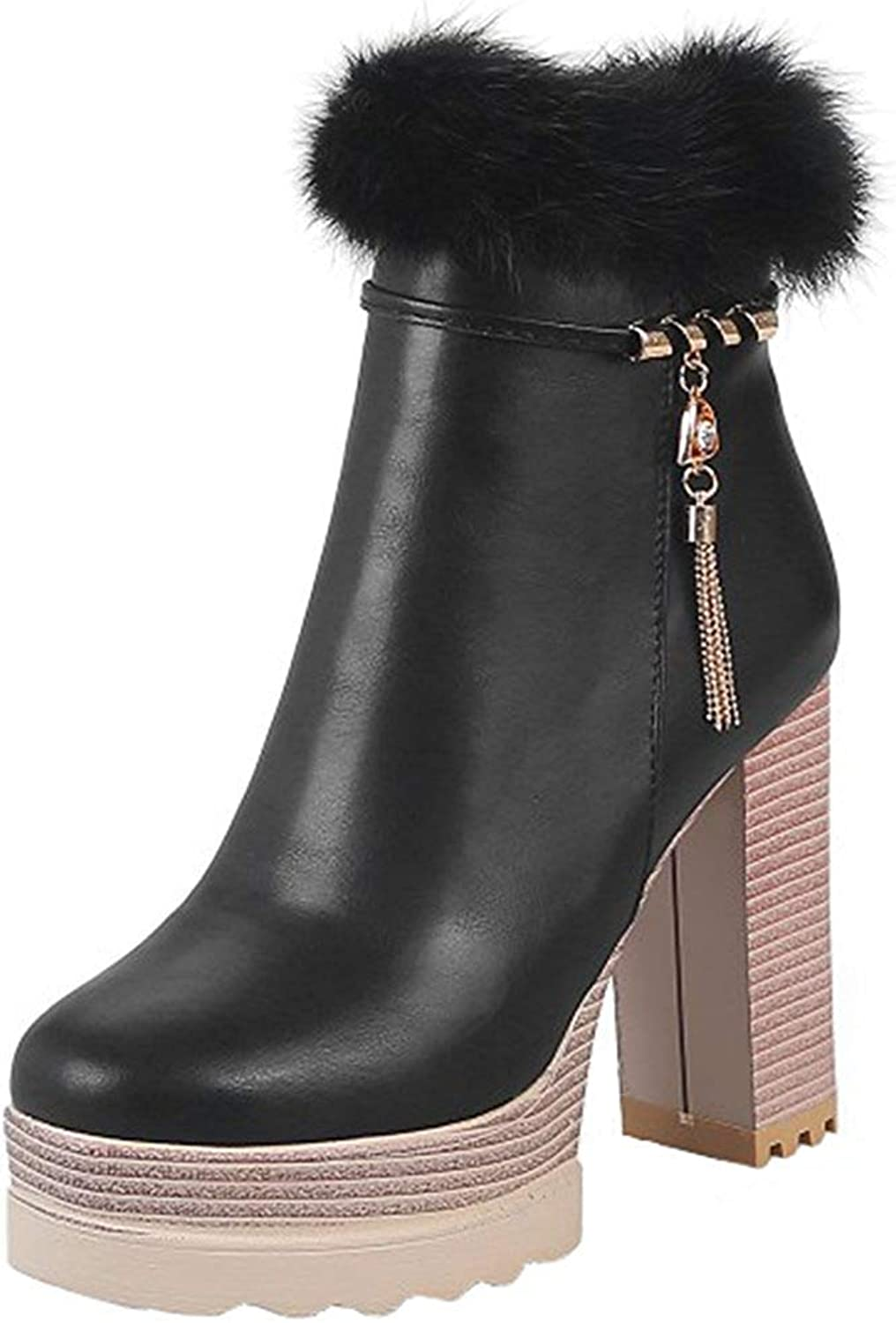 Gcanwea Women's Stylish Fluffy Fur Splicing Pendant Side Zipper Short Boots Stacked Block High Heel Platform Ankle Booties Skinny Fashion Casual Comfortable Pink 6 M US Short Boots