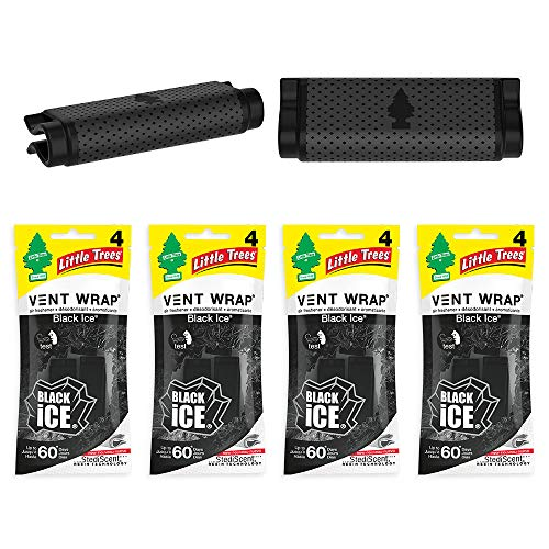 Little Trees Car Air Freshener | Vent Wrap Provides Long-Lasting Scent, Invisibly Fresh! | Black Ice, 4-Packs (4 Count)
