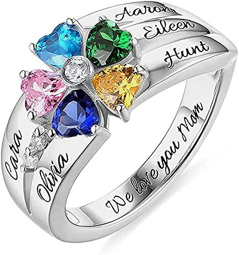Kyznx birthstone 925 anillo de plata esterlina para madre, nombre del niño, regalo del día de la madre, 5 gemas en forma de corazón, 5 anillos con nombre