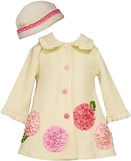 Bonnie Jean Little Girls Bonaz Ivory Fleece Coat & Hat, Ivory, 0-3M - 4T