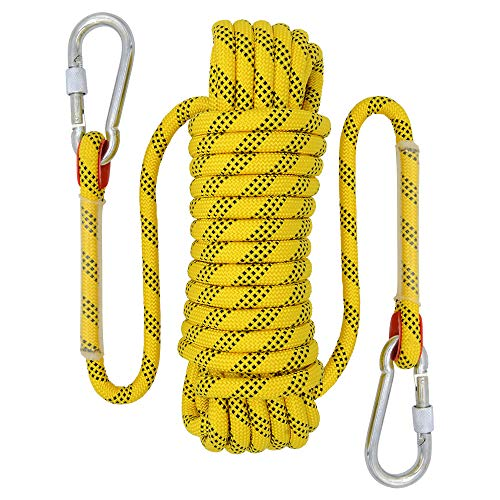 Rock Climbing Rope, 12mm Diameter Static Outdoor Hiking Accessories High Strength Cord Safety Rope (10m,32ft)(20m,65ft) (30m,98ft) (Yellow, 65ft)